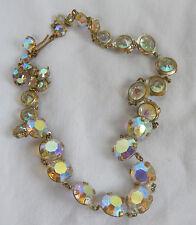 Art Deco Vintage Rainbow Rhinestone Crystal Necklace c 1930s