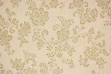 1930's Rare Antique Vintage Wallpaper Green Floral Leaves Gold Metallic Accents