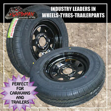 14 x 6 185 LT Sunraysia Wheel Rim & Tyre suits Ford Black Trailer Caravan Boat