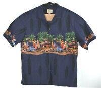 Royal Hawaiian Creations Mens Aloha Shirt Blue Surfboard Woody Car Wagon Sz 2XL