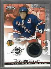 2002-03 Pacific Exclusive Jerseys #4 Theo Fleury GAME USED Blackhawks Rangers