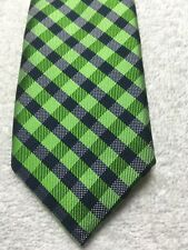 NORDSTROM BOYS TIE GREEN AND BLACK PLAID PATTERN 2.25 X 51 NWOT