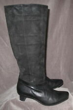 THINK! Women's Convertible Foldover Black Suede Kitten Heeled Boots 8 US/ 39 EU