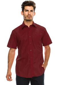 Men's Regular-Fit Solid Color Short Sleeve Dress Shirts