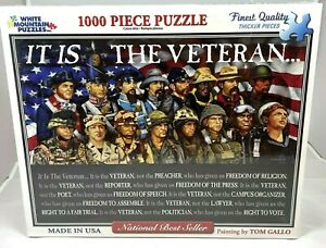 """White Mountain Puzzles Jigsaw Military Veterans 1000 Pieces """"It is the Veteran"""""""