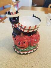 Yankee Candle Tart Burner Warmer Pumpkin Halloween Spooky Black Cat Teresa Kogut