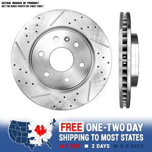 FRONT Drill And Slot BRAKE Rotors For 07 -14 Enclave Traverse 07 - 15 Acadia