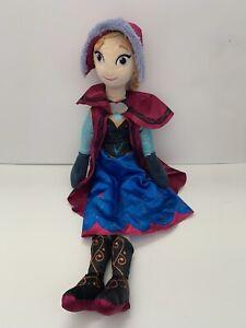 "Disney Store Frozen Movie 27"" Elsa Anna Soft Plush Toy Doll Winter Outfit Hat"