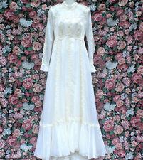 VINTAGE 60S CAROL GOWNS CREAMY WHITE  LACE LIQUID SATIN WEDDING DRESS SZ SMALL