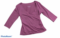 Woman's SOFT SURROUNDINGS Purple 3/4 Sleeve Blouse Top Shirt Petite Size Small P