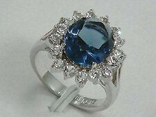 femme ,Bague ,plaqué or blanc, zircon bleu / taille 57#
