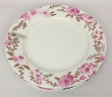 """4 Ciroa White Pink Gold Floral Dinner Plates Fine Bone China 11"""""""