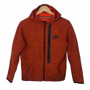 Nike Tech Kid's Boy's Girl's Full Zip Hoodie Sweater Size L Orange Casual Active