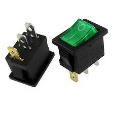 10x Green Light ON-OFF I/O SPST Snap In Rocker Switch 3 Pin 6A/250V 10A/125V AC