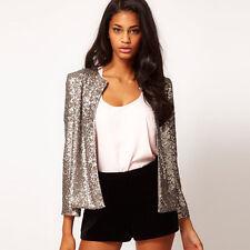 2017 Women's Sequins Button Slim Casual Business Blazer Suit Jacket Outwear Coat
