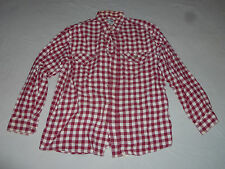 VINTAGE IZOD CHEMISE LACOSTE MENS BUTTON SHIRT FLANNEL RED BURGANDY WHITE SZ 42