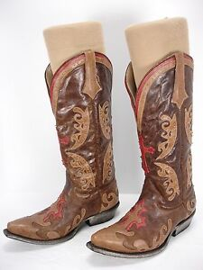LANE GRACE DISTRESSED BROWN / RED LEATHER INLAY COWBOY WESTERN BOOTS WOMEN'S 6