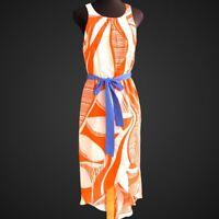JEALOUS TOMATO Women's Size M Orange Ivory Hi-low Sleeveless Maxi Dress