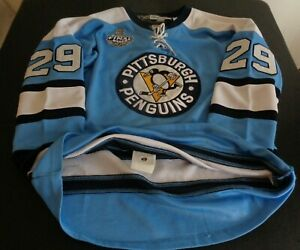 MARC ANDRE FLEURY Pittsburgh PENGUINS Reebok STANLEY CUP Sewn Jersey 48 Blue NHL