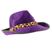 Purple Velvet Fedora Sombrero Adulto Chulo 70S Disco Fancy Dress Costume Prop Gangster