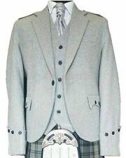Scottish Melton Wool Light Grey Argyle Jacket & Waistcoat Highland Kilt Jackets