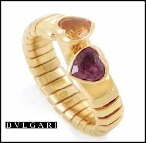 Bvlgari 18k Yellow Gold 1.25ct Citrine & 1.25ct Tourmaline Heart Band Ring