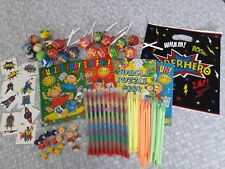 BOYS SUPERHERO PARTY BAGS PREFILLED 7 ITEMS X10 BAGS LOLLIES COLOURING BOOK BALL
