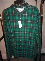NWT Original Penguin Men's Long Sleeve Button Down Shirt Size 2XL Green Plaid