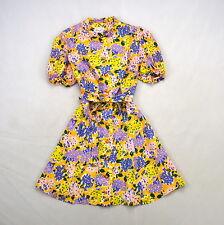 Vintage Vibrant Floral Print JERELL of TEXAS Short Sleeve Micro Mini Dress XXS