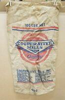 Vintage Cooperative Mills 100 lb. Feed Seed Burlap Bag Sack Gunny Sack