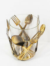 Decorative Utensil Holder with Fork and Spoon Design Antique Bronze Finish