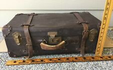 Antique Vtg Brown Leather Luggage Suitcase Train Trunk + Fabric LINED -Carry-on?