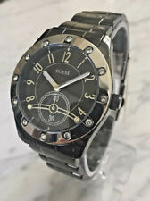 New GUESS 12540L3 Women Black Watch Stainless Steel Band Crystal men