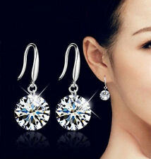 925 Sliver Plated Round Clear Cubic Zirconia Women's Dangle Hook Earrings