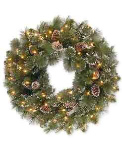 """NATIONAL TREE 24 """" GLITTERY PRELIT PINE WREATH WITH SNOW TIPPED CONES 50 LIGHTS"""
