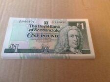 Royal BANK OF SCOTLAND 25 una sterlina NOTE cerchiato & consecutivi da N. 2001.