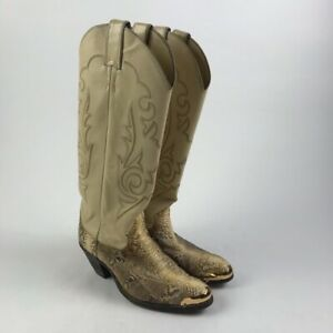 Justin Womens Western Cowboy Boots Ivory Snakeskin Embroidered United States 5B