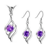 Sterling Silver Amethyst Purple Love Pendant Necklace Drop Earrings Set Gift Box