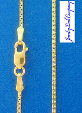 "14K Solid Yellow Gold 1.15mm 8 Sided  Box Chain w/ Lobster Clasps 16"" 3.3gr"