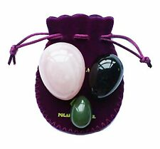Yoni egg Set of 3 Gemstone, nephrite jade, black obsidian and rose quartz kegel
