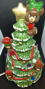 Hand Painted Ceramic Mold Lighted Christmas Tree With Teddy Bears