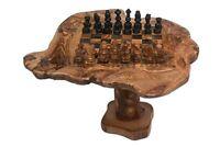 Cadeau Noel, Jeu d'échec rustique en bois d'olivier support 15 cm. Échiquier.