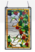 Tiffany Style Stained Glass Window Panel Hummingbirds ~LAST ONE THIS PRICE~