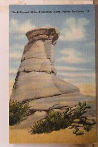 North Dakota ND Badlands Rock Capped Shale Formation Postcard Old Vintage Card