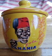 Banania ceramic bowl with lid. Cute vintage style.