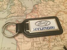 HYUNDAI Quality Black Real Leather Keyring Oblong SANTA FE i 10 20 30 Tucson