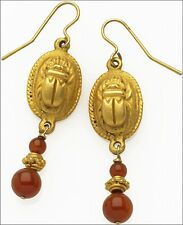 "Egyptian Scarab Dangling Earrings Carnelian Beads 24 K Gold Plate 0.5"" x 1.5"""