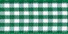 Gingham Ribbon 18 Colours 5 Widths 3 Lengths by Berisfords Hunter #455 25mm X 1mtr