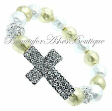 Beauty for Ashes Pave Crystal Cross Hammered Bead Silver Gold Stretch Bracelet