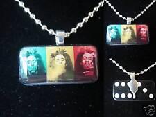 Bob Marley rasta mini domino pendant necklace